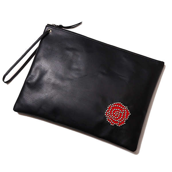 LADIES STUDS AND ROSES CLUTCH BAG – LARGE