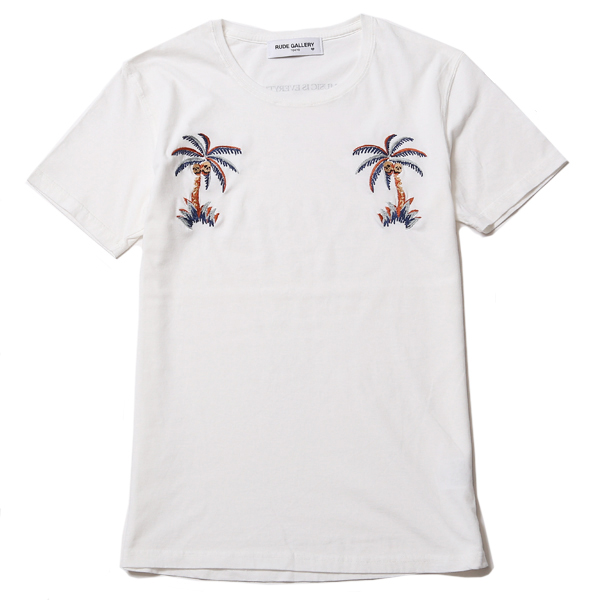 EMBROIDERY TEE - PALM TREE SKULL
