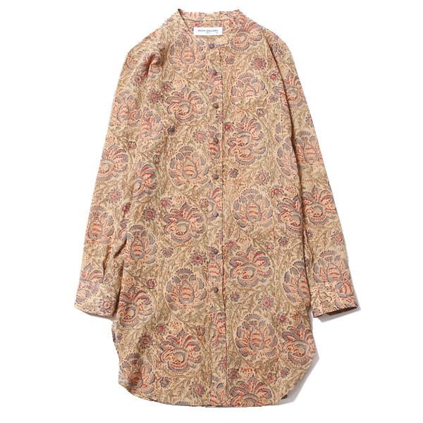 BAND COLLAR LONG SHIRT - FLOWER