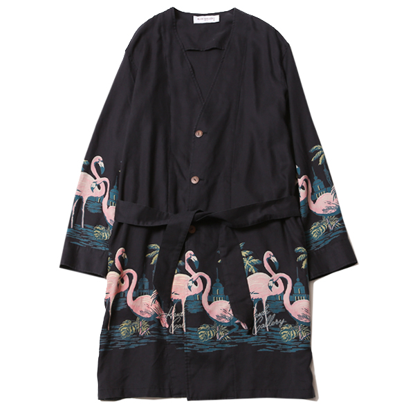 LADIES FLAMINGO NO COLLAR ROBE