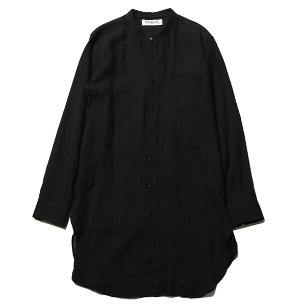 BAND COLLAR F HOLE LONG SHIRT - LINEN