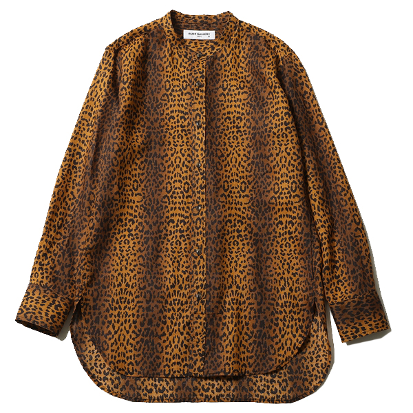 LEOPARD BAND COLLAR MIDDLE SHIRT