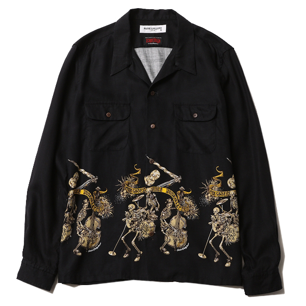 RUDE CATS L/S ALOHA SHIRT <ART WORK by Rockin' Jelly Bean>