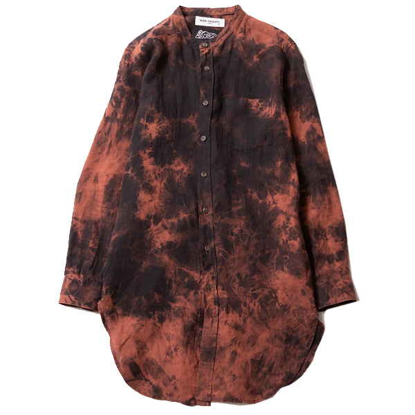 TIE-DYE BAND COLLAR LONG SHIRT