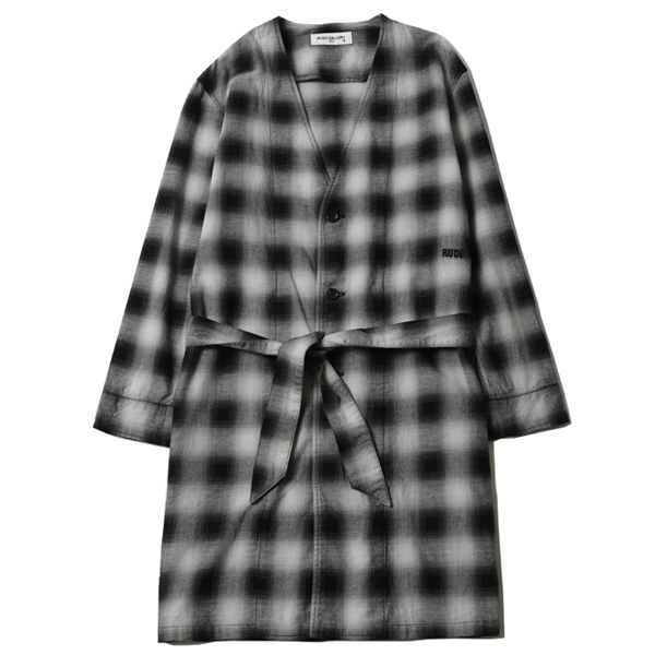 OMBRE CHECK NO COLLAR ROBE