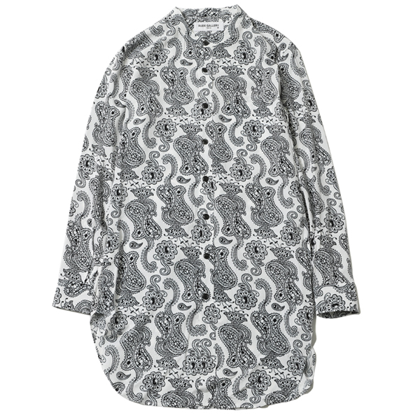 PAISLEY NO COLLAR LONG SHIRT