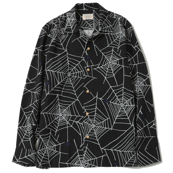 SPIDER NET OPEN COLLAR SHIRT
