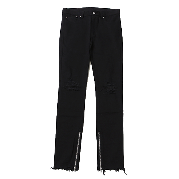 EBONY -Damaged Side Zip Skinny-